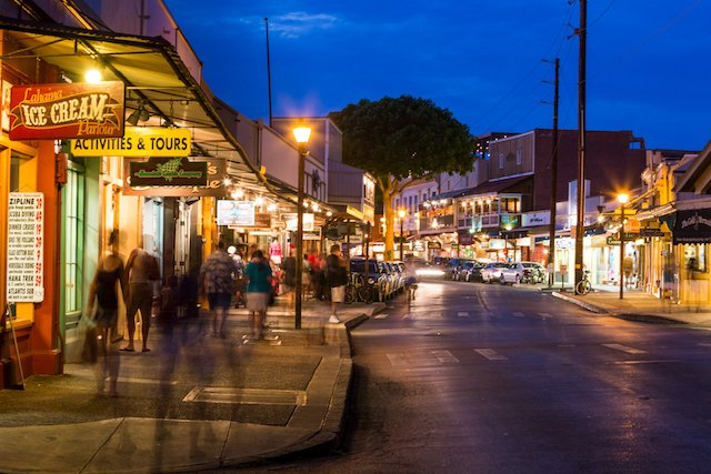lahaina town at night