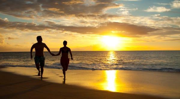 Romantic couple sunset