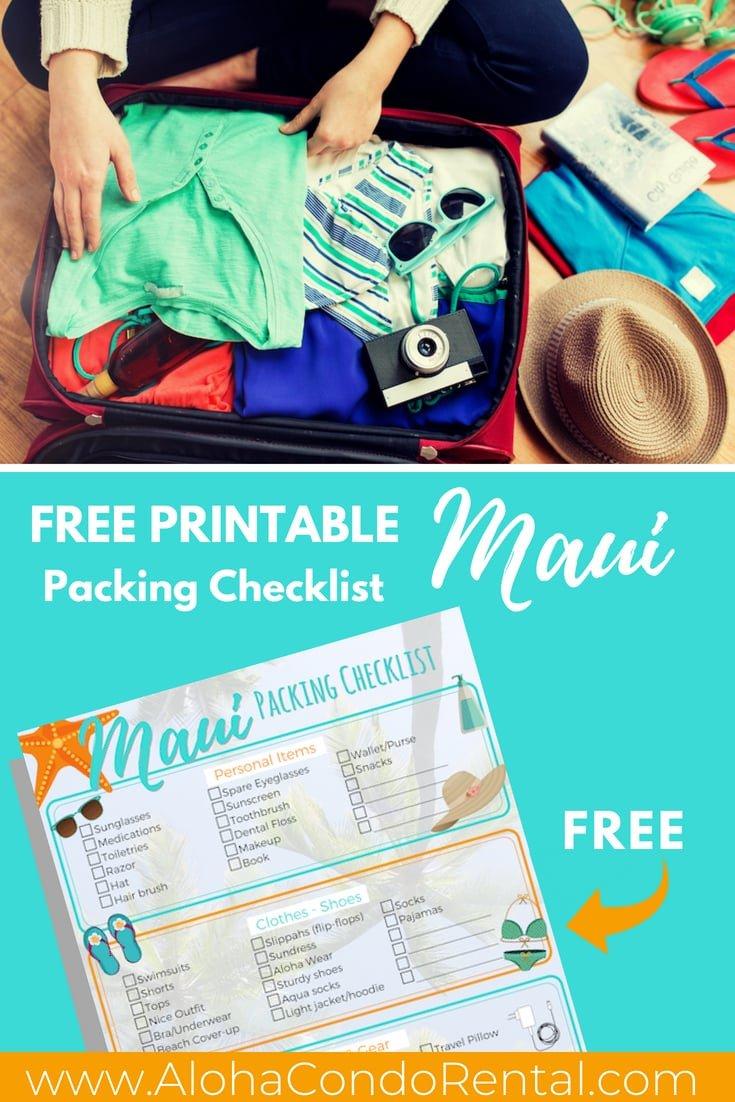 FREE PRINTABLE Maui Trip Packing  - www.AlohaCondoRental.com Vacation Rental Maui